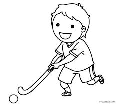 Tegning af dreng der spiller Hockey